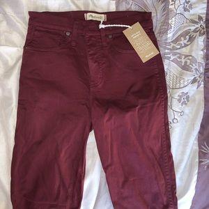 Madewell skinny pants color burgundy